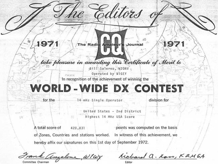 The W2ONV 1971 World Wide DX Award!